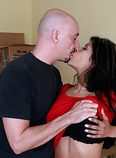 Brave latina Gabby Quinteros taking off jeans and spreading tight vagina