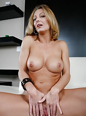 Snazzy milf Brenda James showing her forms and enjoying delicious wieners