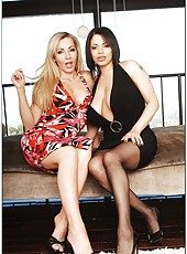 Carnal milfs Alexis Silver and Lisa DeMarco having fun with a black guy