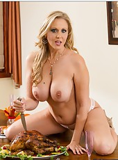 Lovely mom Julia Ann sucking a young pecker and reaching sexual peak