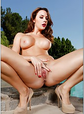Chanel Preston spreading ass outdoors and making her vagina all wet