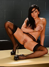 Nasty hussy Audrey Bitoni showing her hot body and working with a big dick
