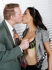 Jolly minx Lyla Storm posing for her boss in sexy lingerie and enjoying his cock