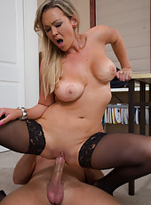 Fancy cunt Abbey Brooks trying to please her boss with a real blowjob