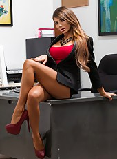 Giggly Madison Ivy showing her delicious melons and jilling in office