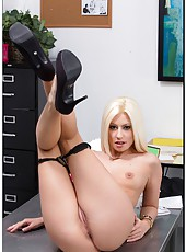 Astonishing Jessie Volt rubbing sissy through panties and playing with tits