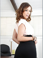Pretty nice secretary Audrey Rose posing in office and making a real deepthroat