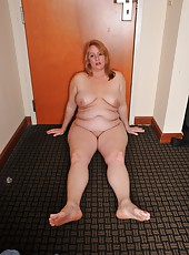 Fascinating BBW Misty Luv Blu enjoys posing naked with her huge tits out