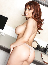 Outstanding office milf Devon Michaels shows her big natural boobies
