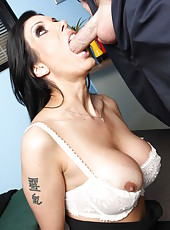 Long-haired brunette milf Shay Sights being fucked by this worker