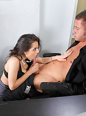 Sexretary Yurizan Beltran was fucked by her relaxed boss in doggy style