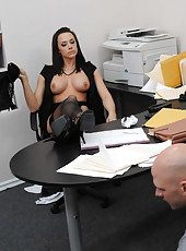 Dark-haired milf in black dress Chanel Preston gets her pussy licked
