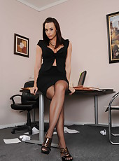 Stunning goddess Chanel Preston poses naked in her sexy stockings