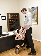 Fake-tit brunette milf Aleksa Nicole fuck with her muscular boss on the table