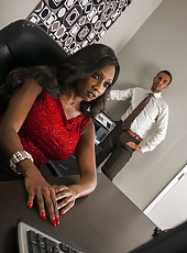 Spicy interracial sex with hardcore ebony Diamond Jackson and big white prick
