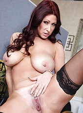 Perverted curly-haired brunette milf Tiffany Mynx shows her accurate shaved puss