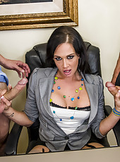 Hardcore pornstar Tory Lane is handling two dicks and swallowing cumshots