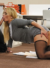 Pornstar Shyla Stylez is screaming from hardcore penetration at her workplace