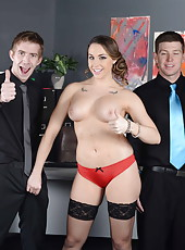 Ravishing and arresting babe Chanel Preston riding a cock and sucking