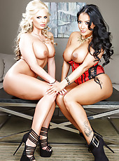 Two busty and naughty lesbian MILF