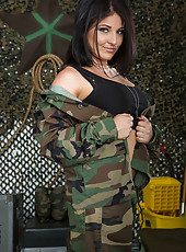 Stunning MILF Casey Cumz taking off her military cloths and showing boobs