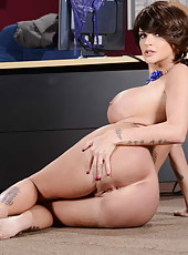 Busty MILF Joslyn James showing her sexy lingerie and sweet tattoos