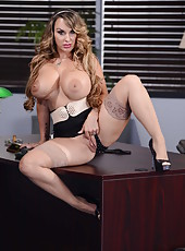 Bossy MILF Holly Halston with huge boobs showing her punishment tools