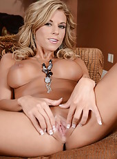 Tanned and sexy babe with nice tits Nicole Graves spreading her charming ass