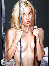 Skinny blonde prisoner with hot face named Kiara Diane excites with naked body