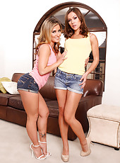 Naughty lesbian milfs Alyssa Reece and Sheena Shaw preparing for a game with toys