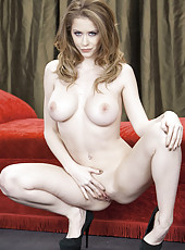 Pale skinned babe Emily Addison shows her big natural boobs and a sweet hole