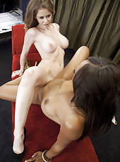 Interracial lesbian fucking with gorgeous chicks named Emily Addison and Leilani Leeane
