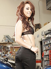 Young and beautiful brunette babe Riley Jensen shows her nasty holes
