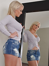 Pretty and horny blonde princess Lexi Swallow takes off her sexy clothes
