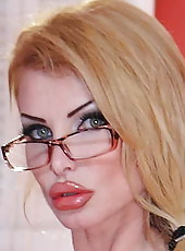 Fantastic mistress in sexy glasses Taylor Wane surprises with big tits in sexy lingerie