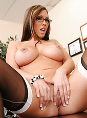 Exceptional beauty in sexy glasses Taylor Kurtis presents big tits and shaved pussy
