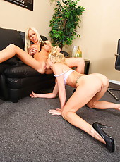 Blonde lesbians Eden Adams and Monique Alexander licking the most sensitive parts