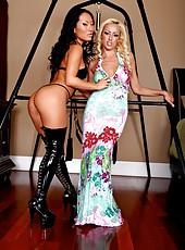 Asian bombshell Asa Akira and her blonde babe Breanne Benson strip on the camera