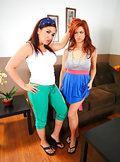 Two appetizing lesbians Sabrina Maree and Zoe Britton playing with a strapon