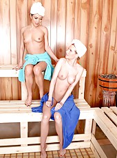 Hot sauna adventure with two perfect lesbian milfs Aimee Addison and Alyssa Reece