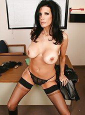 Naughty brunette lesbians Shay Sights and Yurizan Beltran stripping in the office