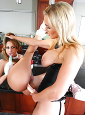 Playful and horny milfs Isabella Sky and Tanya Tate become wild at the kitchen