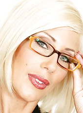 Marvelous milf Puma Swede posing in sexy glasses and hot lingerie