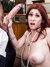 Naughty pornstar Tiffany Mynx swallowing a huge cock and getting pleased
