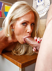 Spicy milf Simone Sonay showing her skills in fucking with two fellows