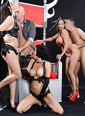 Ariella Ferrera, India Summer and Veronica Avluv tasting a yummy wiener