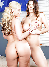 Alison Tyler and Phoenix Marie trying to make a real sandwich blowjob