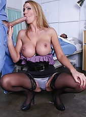 Carnal slut Leigh Darby showing sexy lingerie and swallowing cock