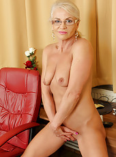 Blonde 47 year old Inez from AllOver30 showing off her shaven pussy