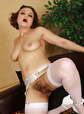 Hot furry pussied 36 year old Anna P posing in tight white lingerie